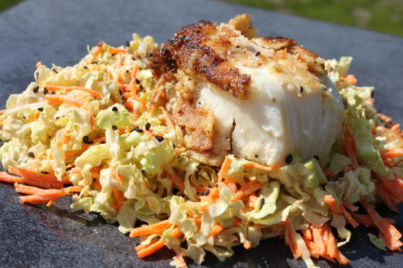 Almond-Crusted Halibut with Sesame-Tahini Coleslaw ...